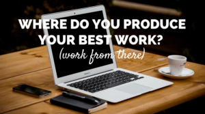 """Photo of a Mac Book and an espresso that says """"Where do you do your best work? (Work from there)"""""""